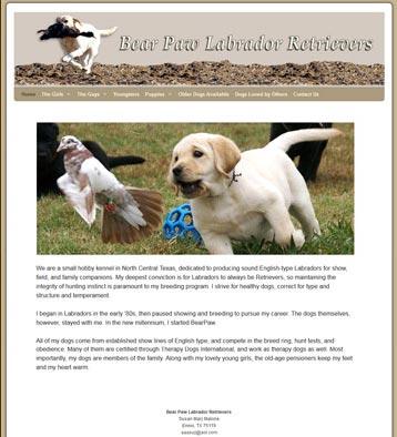 Bear Paw Labrador Retrievers Website by CityCenter Co.